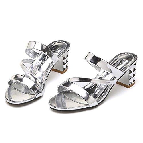 5 IGEMY Sandalen Ankle Heels High 5 Plattform Frauen Sommermode Hausschuhe cm Silber Party axqATSx