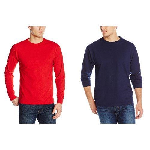 Jerzees Men's Adult Long Sleeve Tee X Sizes, True Red/Navy, 3X