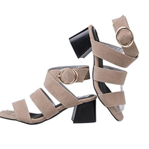 AIYOUMEI Damen Wildleder Offen Knöchelriemchen Sandalen mit 5cm Absatz Blockabsatz Sommer Schuhe Aprikose
