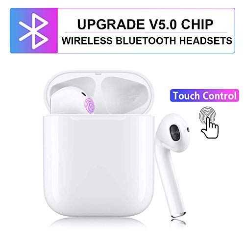 True Wireless Earbuds 5.0 Bluetooth Headphones with Charging Case, TWS Stereo Earphones Cordless Headsets with Microphone Binaural Calls, One-Step Pairing, Sound with Deep Bass for Sport Running