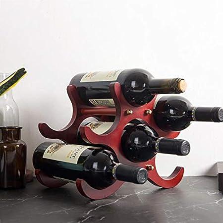 LTLWSH Estante para Botellas de Vino – Botelleros de Madera para Vino u Otras Bebidas – Vinoteca de Madera para 6 Botellas
