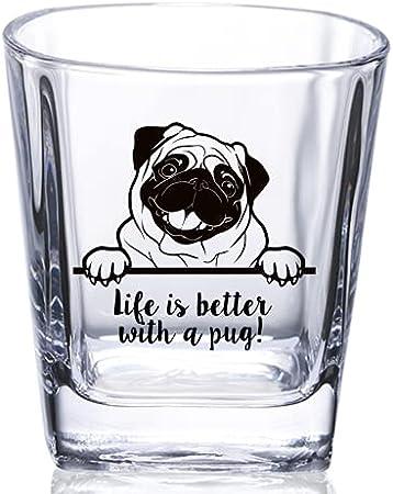Regalo para los amantes de los carlinos, vaso de whisky para perro, mamá, papá y amantes de los perros, perfecto para cumpleaños, Navidad, Acción de Gracias, 8,5 onzas, la vida es mejor con un carlino