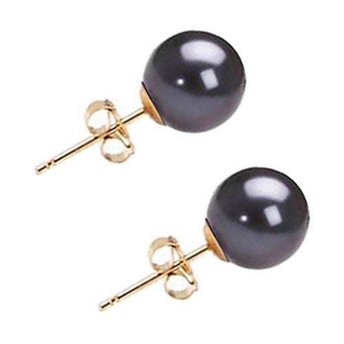 14k Yellow Gold Setting - AAAA Black Akoya Cultured Pearl Earrings Stud 14K Yellow Gold Settings Earrings Stud for Women