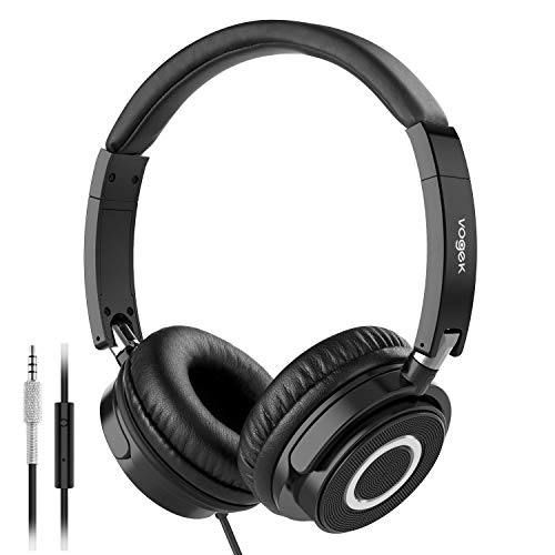 On Ear Headphones with Mic, Vogek Lightweight Portable Fold-Flat Stereo Bass Headphones with 1.5M Tangle Free Cord and Microphone-Black Black Portable Stereo Headphones