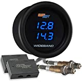 GlowShift Black 7 Series Dual Digital Wideband Air/Fuel Ratio AFR Gauge Kit - Includes Oxygen Sensors, Data Logging Output & Weld-in Bungs - Clear Lens - Blue LED Display - 2-1/16'' 52mm