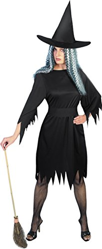 Girls Costume Witch Uk (Smiffy's Women's Spooky Witch Costume, Dress, Belt and Hat, Legends of Evil, Halloween, Size 6-8,)
