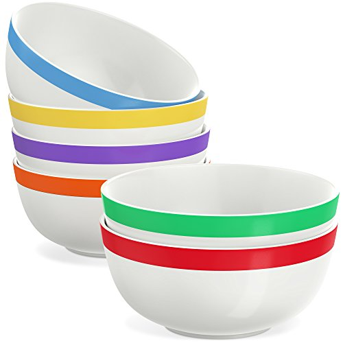 Vremi 17 oz Ceramic Bowls Set of 6 - White Porcelain Kitchen Serving Bowl Set Microwave Safe for Soup Salad Pasta Dessert Popcorn Dip - 5 inch Ice Cream Bowls with Cute Decorative Colorful Stripe Trim