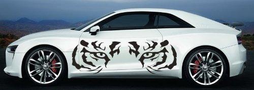 Vinyl Decal Mural Sticker Tiger Eyes For 2 Sides Car S7897 (Plastic Mural Tiger)