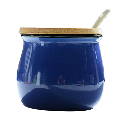 - Simplicity Pure Color Sugar Bowl Set with Lid Wooden Spoon Large Salt Pepper Storage Jar Pot Sugar Container Seasoning Pot Box Condiment Spice Racks Holder,Dark Blue