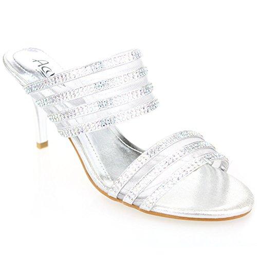 Champagne zapatos tamaño Plata las de Prom de boda Mujeres sandalia los de Diamante del Oro medio Aarz de de tarde talón la señoras Plata la de partido YSH4xwqB