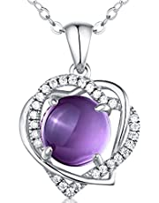 HXZZ Fine Jewelry Gift for Women 925 Sterling Silver Natural Gemstone Pendant Necklace
