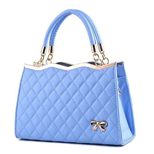 Blue Mano de de Cuero de Bolsos Bolsos PU Pink 30x11x20cm Bolsos Sky de Mujer 0OnwxI8