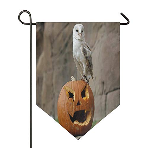 Halloween Pumpkin Owl Garden Flag Outdoor Banner Decorative Large House Polyester Flags for Wedding Party Yard Home Decor Season Porch Lawn Double Sided 28 x 40 inches]()