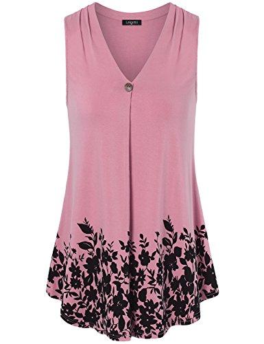 eveless For Women,Laksmi Summer Juniors V Neck A Line Floral Casual Office Wear,Dark Pink Medium (Juniors Pink Sleeveless Top)