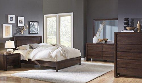 Estel Full Bed, Nightstand, Dresser & Mirror - Mahogany Brown Wood (Mahogany Set Dresser)
