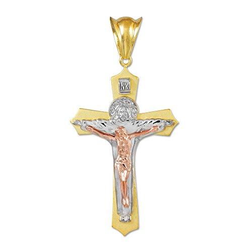 Homme Collier Pendentif Tricolore 14 Ct Or Jaune Sainte Trinité Crucifix (Médium) (Livré avec une 45cm Chaîne)