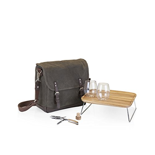 LEGACY – a Picnic Time Brand Adventure Insulated Double Wine Tote with Service for Two, Khaki Green Brown