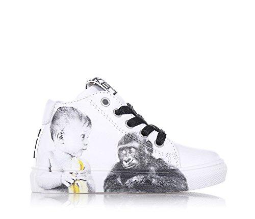 53c61964c2b663 BE KOOL Weißer Schuh Monkey Baby mit Schnürsenkeln aus Leder von der ...