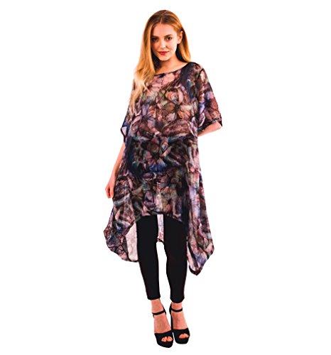 Camiseta para mujer, holgada, túnica ligera de gasa de verano Estilo 1