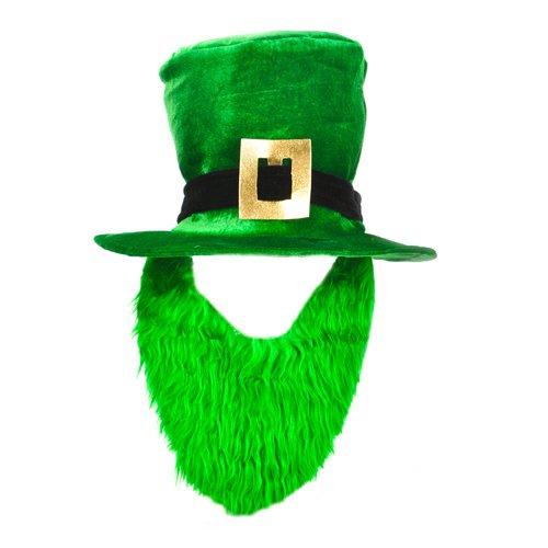 St. Patricks Day Costume Green Leprechaun Top Hat And Beard]()