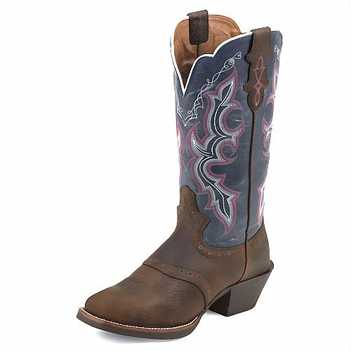 Justin Ladies Stampede Punchy Boots 9.5W Blue (Justin Boots Stampede Womens)