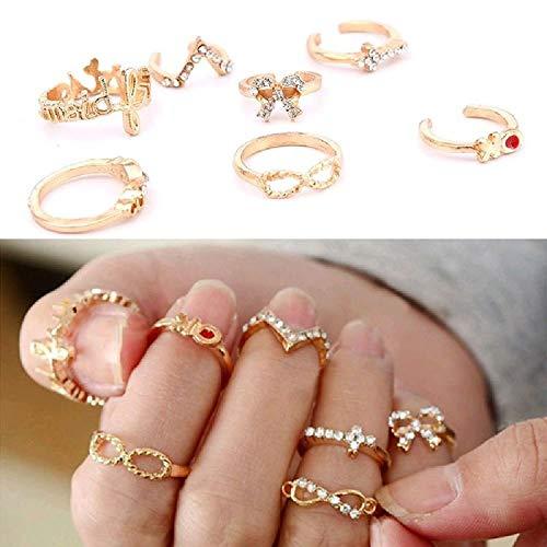 Fashion Personality 7Pcs Gold Rhinestone Bowknot Cross Women Rings Set by NYKKOLA