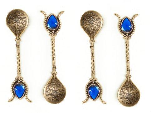 Handmade Copper Turkish Ottoman Spoons Donation Set of 4, Tea, Coffee, Sugar Measuring, Serving (BRASS BLUE)
