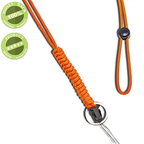 WALNEW 25-Inch Fashion Strong Survival Paracord Lanyard Necklace with Carabiner, Alloy Ring and Clip for Mobile Phones, Keys, Flashlights, ID Cards, Whistles, USB Drives, Knives etc, Orange