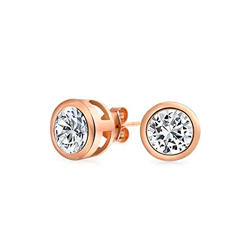.75CT Round Cubic Zirconia Bezel Set Solitaire AAA CZ Stud Earrings For Women Rose Gold Plated 925 Sterling Silver 6MM ()