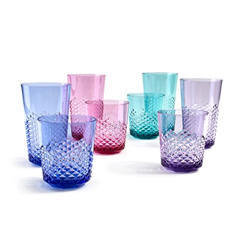 (Cupture Diamond Plastic Tumblers BPA Free, 24 oz / 14 oz, 8-Pack (Assorted Colors))