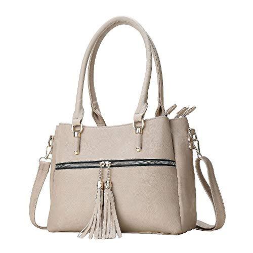Women Satchel Bags Handle Shoulder Handbags and Purses Pockets Zipper leather Crossbody Bags (beige)