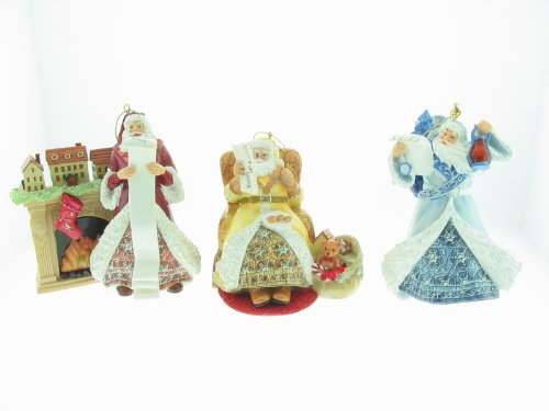 (Louis Comfort Tiffany Holiday Insparations Porcelain Santa Ornament Collection Second Issue Set of 3 Bradford Editions.)
