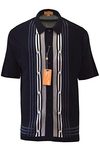 Edition S Men's Short Sleeve Knit Shirt - California Rockabilly Style: Multi Stripes (Medium, Black)