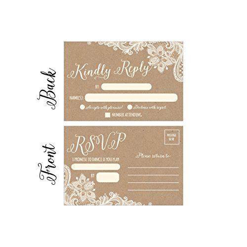 50 Rustic RSVP Cards, RSVP Postcards No Envelopes Needed, Response Card, Blank RSVP Reply, RSVP for Wedding, Rehearsal Dinner, Baby Shower, Bridal, Birthday, Engagement, Bachelorette Party (Response Cards For Wedding)