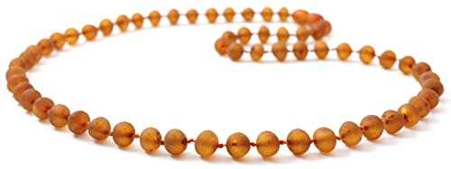 Raw Baltic Amber Necklace - Adult Size 23.5 inches (60 cm) - Unpolished Amber Beads - BoutiqueAmber (23.5 inches, Cognac)