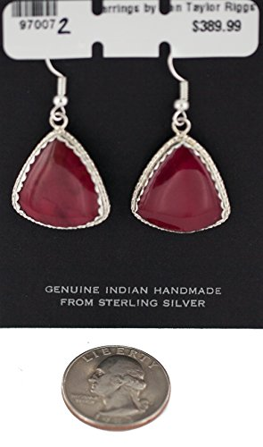 $390Tag Certified Authentic Silver Navajo Natural Red Jasper Native American Dangle Earrings 97007-2