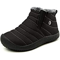 J.LMH Kids Winter Warm Snow Boots Outdoor Fur Lined Waterproof Ankle Boot Shoes for Girls Boys