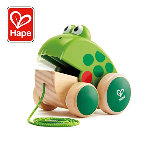 (Hape Frog Pull-Along | Wooden Frog Fly Eating Pull Toddler Toy, Bright Colors)