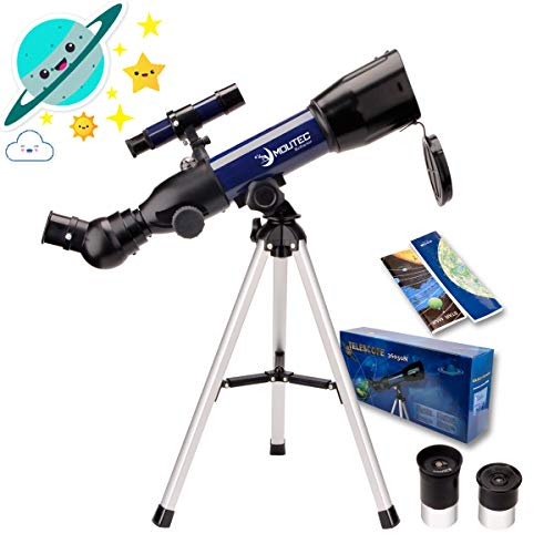 MOUTEC Real Scientific Telescope for Kids Astronomy Beginners to Explore Space, Dual-Purpose 50mm Travel Scope with Tabletop Tripod Moon Star Maps-Great Birthday & Holiday Educational Gift for Child