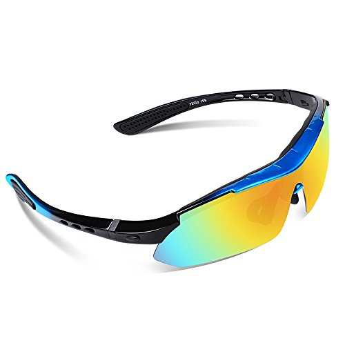 Ewin E03 Polarized Sports Sunglasses with 5 Interchangeable Lenses for Men Women Golf Baseball Volleyball Fishing Cycling Driving Running Glasses(Blue&Black)