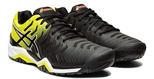 ASICS Gel-Resolution 7 Men's Tennis Shoe, Black/Sour Yuzu, 6.5 M US