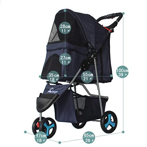 Jzmzt Pet Stroller New Pet Stroller Dog Stroller Folding Portable Belt Outing Cart Fully Removable and Washable (Color : Cyan)