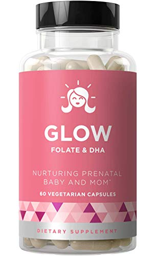 Glow Prenatal Vitamins + Folate & DHA - Nurturing Pregnancy Multivitamin for Healthy Baby and Mom - Folic Acid, Ginger, Zinc, Iron - 60 Mini Vegetarian Soft Capsules