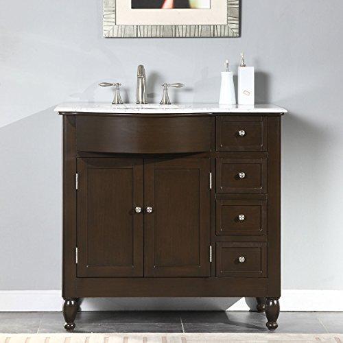Silkroad Exclusive White Marble Top Left Sink Bathroom Vanity with
