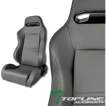 2X UNIVERSAL MU BLK STITCH PVC LEATHER RECLINABLE RACING BUCKET SEATS+SLIDER C01