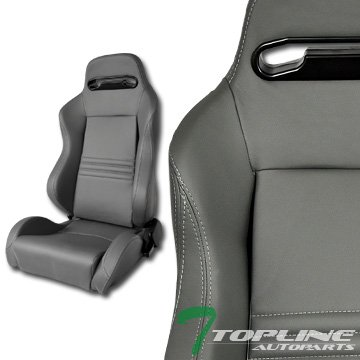 Topline Autopart T-R Sport Gray Stitch Pvc Leather Reclinable Racing Bucket Seats+Slider Pair T01