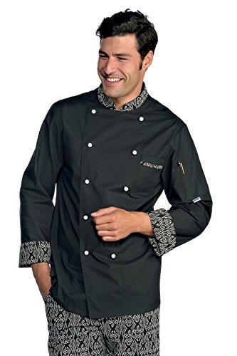 Isacco Giacca Cuoco Bicolore - Isacco Bianco+Nero, Bianco+Nero, S, 100% Cotone, Mezza Manica ISSACO ox059200M-BLANC/NOIR-S