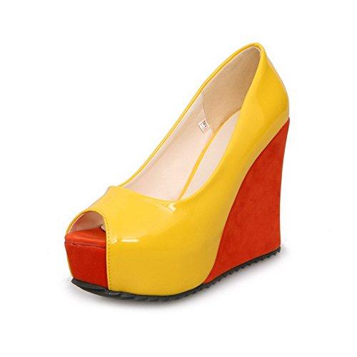 Peep Gelb Pull High On Damen Pu AgooLar Sandalen Toe Heels 5qzOOP