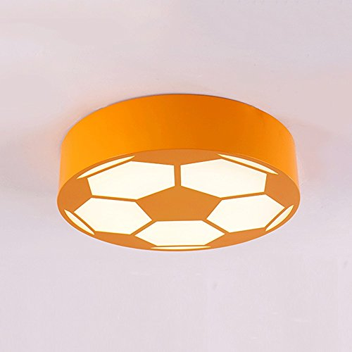 Cartoon LED Soccer Children's Room Chandelier Creative Bedroom Lights Early Education Round Warm Kindergarten Playground Lighting ( Color : Orange(a) ) by JYKJ