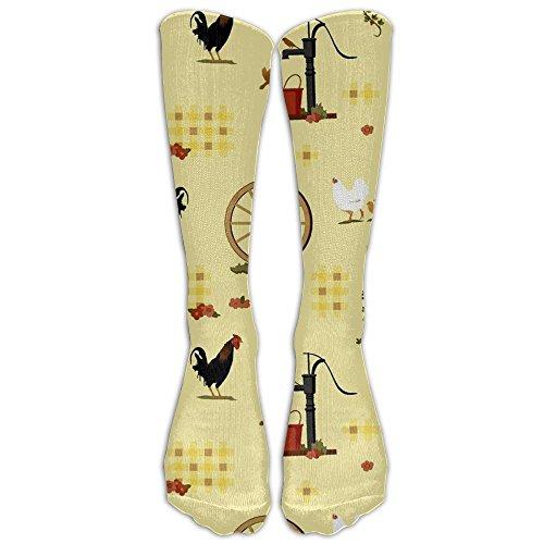 Country Farmyard Idyll Crew Socks Casual Socks Medium Socks Fashion Funky For Running Travel (Funky Farmyard Activity)